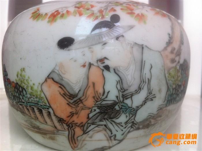 清名家精美浅降彩人物围棋罐(1898年)包老