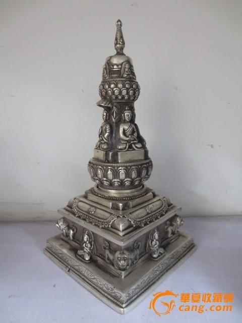 铜鎏银佛塔