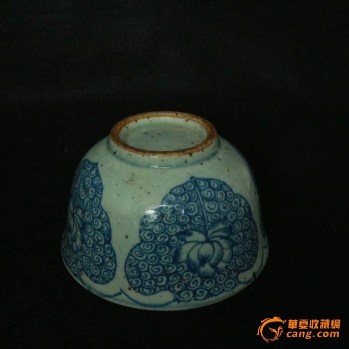 晚清 青花瓷莲花纹碗 全手工手绘