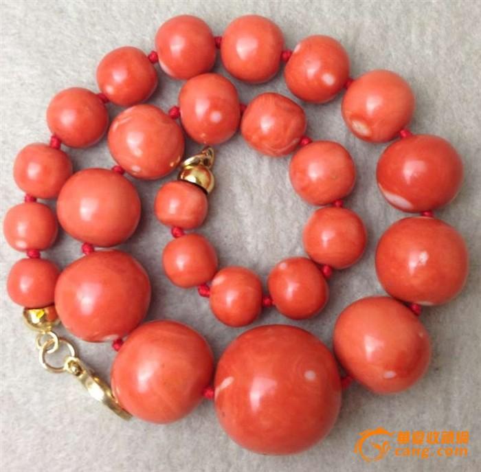 极品:153克25颗珠子最大26.5直径百年MOMO圆珠项链