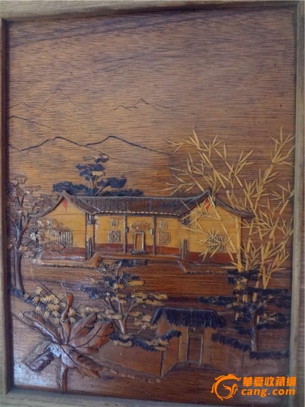 木板雕刻风景画