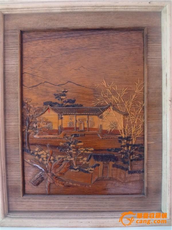 木板雕刻风景画图片