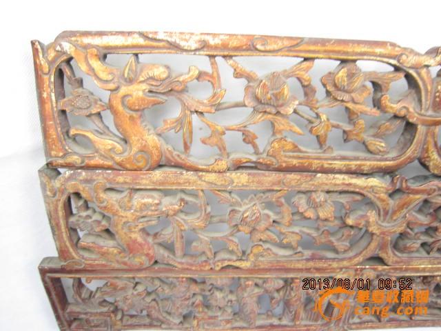 清代香樟木人物花板镂空雕刻鎏金花鸟彩绘画房屋空间镶嵌古玩怀旧
