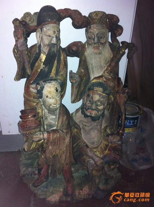 清代精美木雕 八仙过海 鎏金人物雕版挂件
