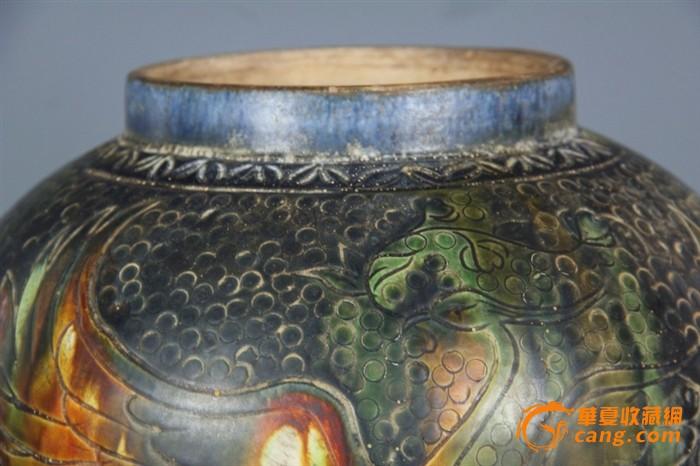 古唐三彩椭圆形花盆图片