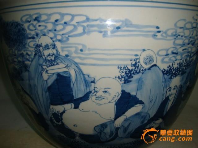 青花�:a�9���i�y�_清青花十八罗汉画缸