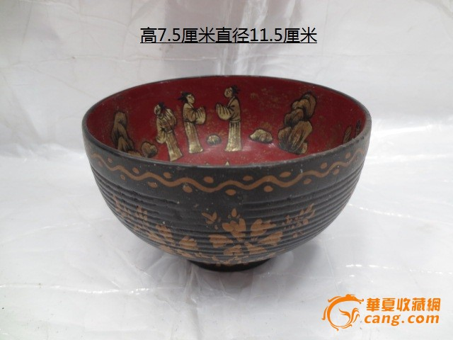 描金人物木漆碗