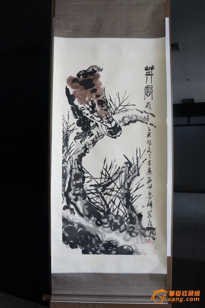 河北著名画家 梁崎 松鹰图(指墨)立轴