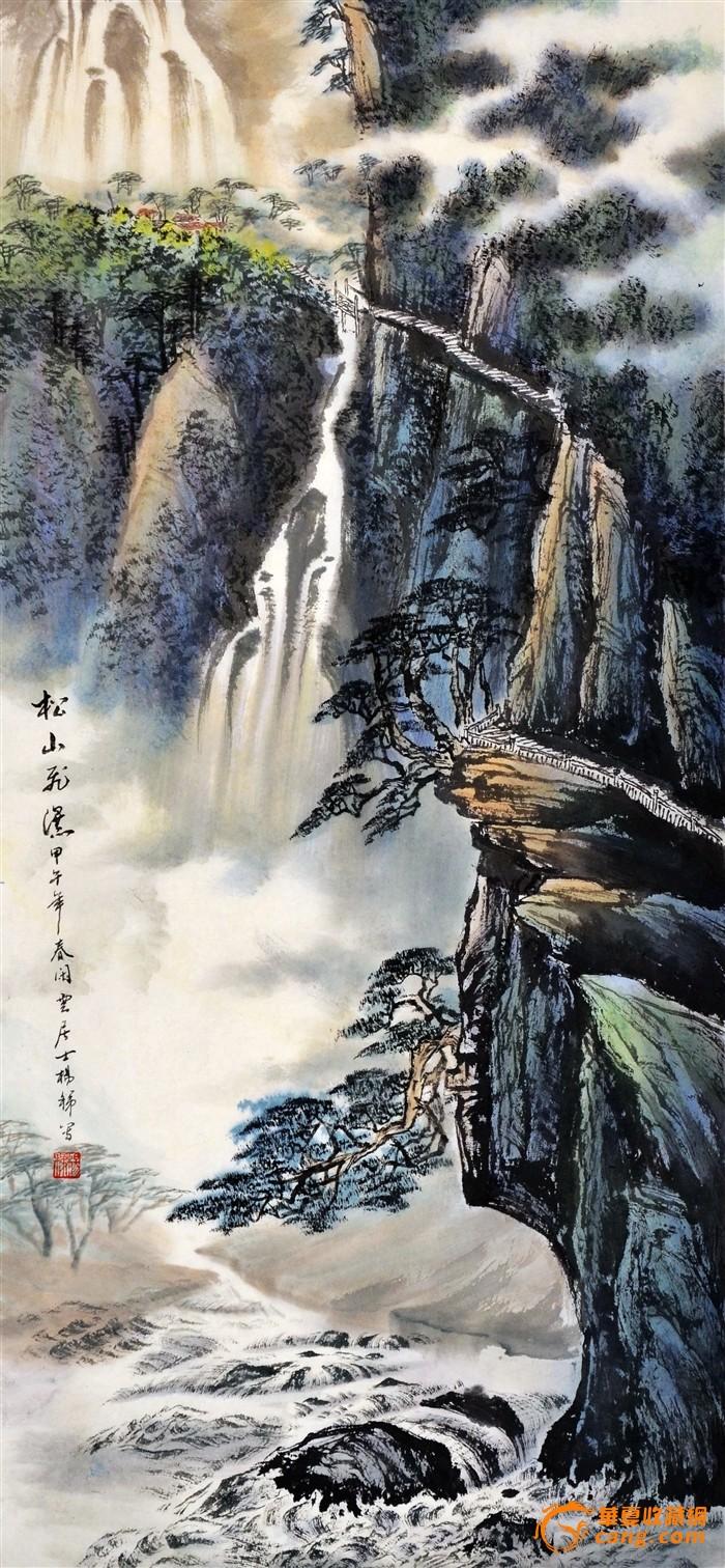 国画山水_三尺国画山水-松山飞瀑-2014-0517-06