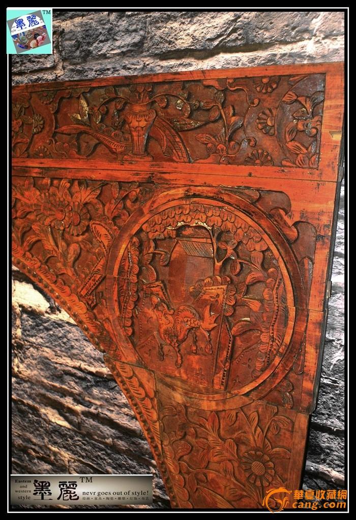 古旧老床雕花板原木深雕刻个性独特木艺墙挂背景挂件