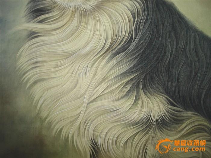 王申勇 绢本工笔 狗 当代著名动物画家 镜芯