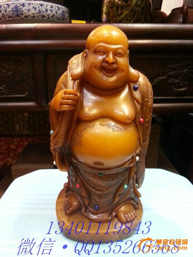 老寿山石镶宝 大肚弥勒佛 高20cm