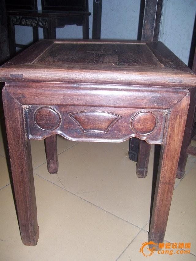 老红木酸枝博古鲍鱼方凳单个家具收藏