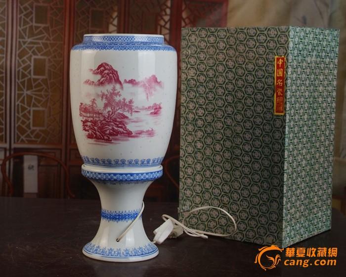 景德镇陶瓷/玛瑙红山水风景玲珑100件薄胎皮灯