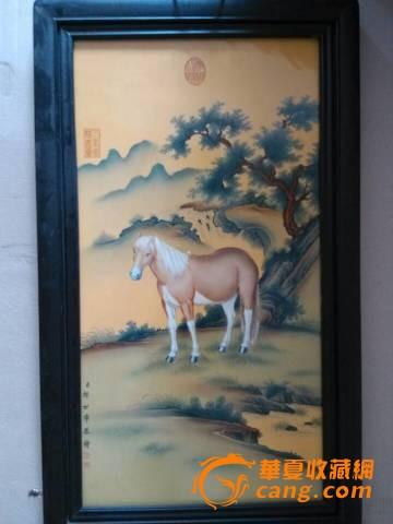 一套郎世宁工笔画风景图背景八骏图瓷板挂屏