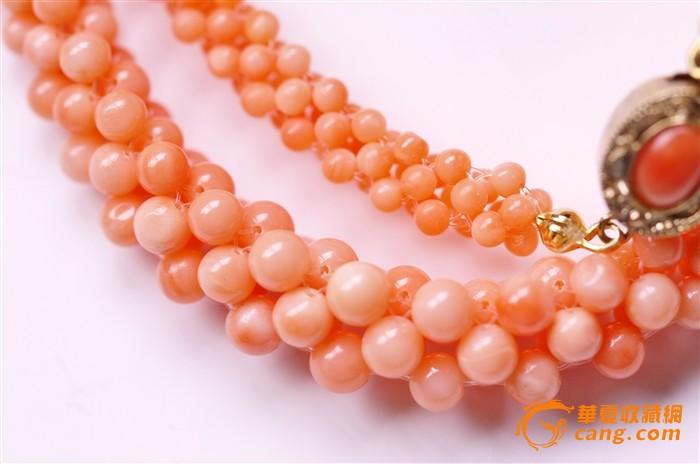 手工编制的天然桃色珊瑚项链