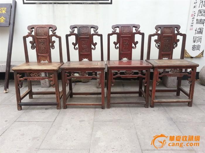 【江啸堂】藏品 古玩 清代人物雕花靠背老椅子4张