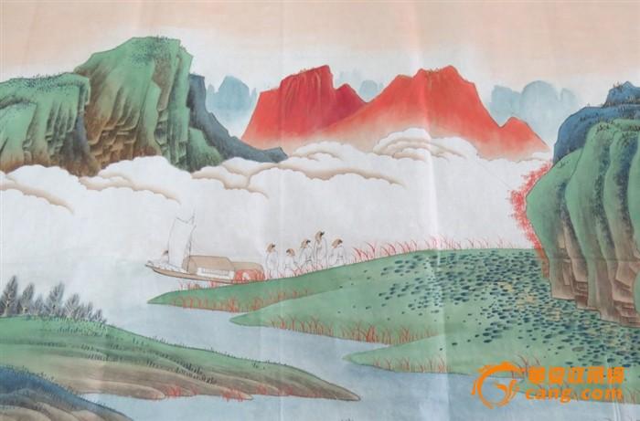 张大千青绿山水画心图片
