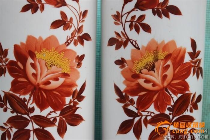 50年代唐山瓷厂手绘一枝花帽筒一对