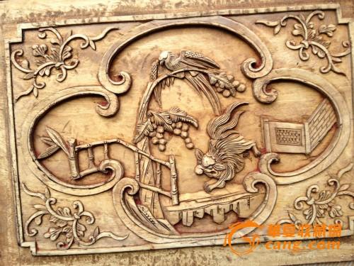 雕工精细戏门人物动物场景花板273号东阳木雕花板