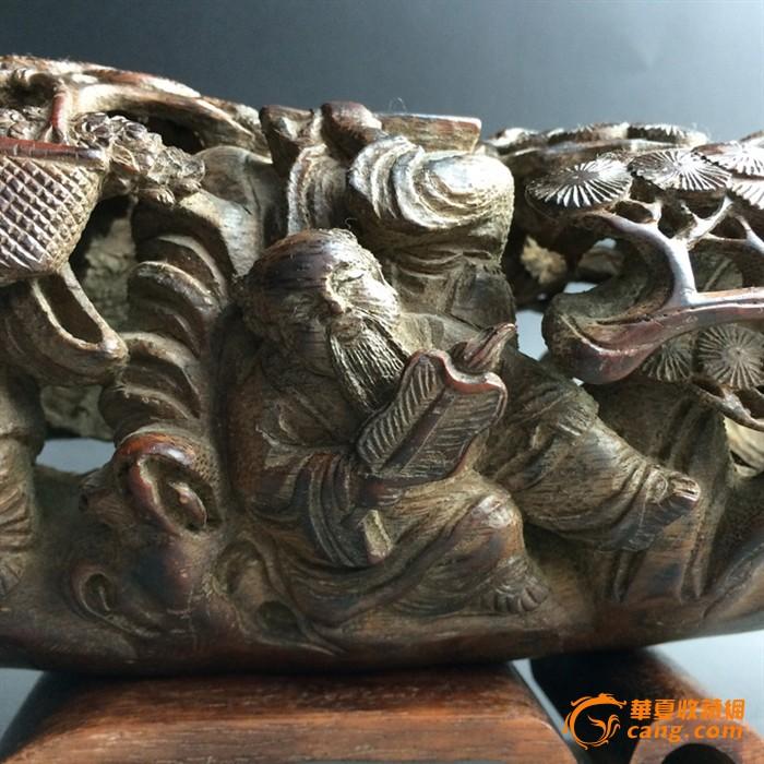 清代老竹根雕八仙过海乘槎摆件竹根雕仙人舟
