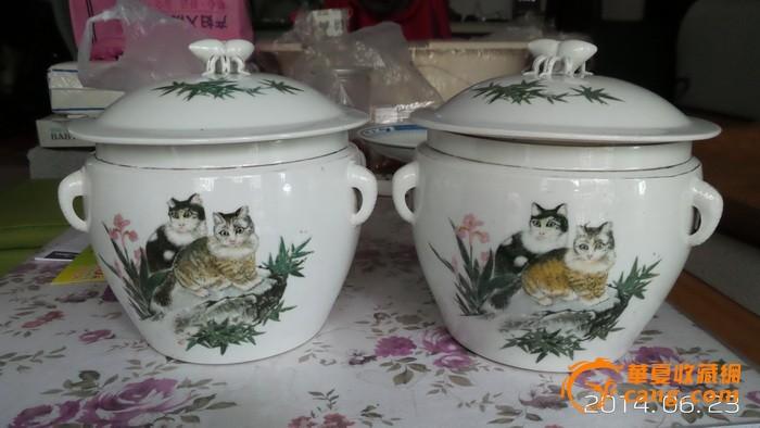 小巧可爱的粉彩手绘鸳鸯戏水文革粥罐文革盖缸(无盖) 翡翠和软玉鸟笼