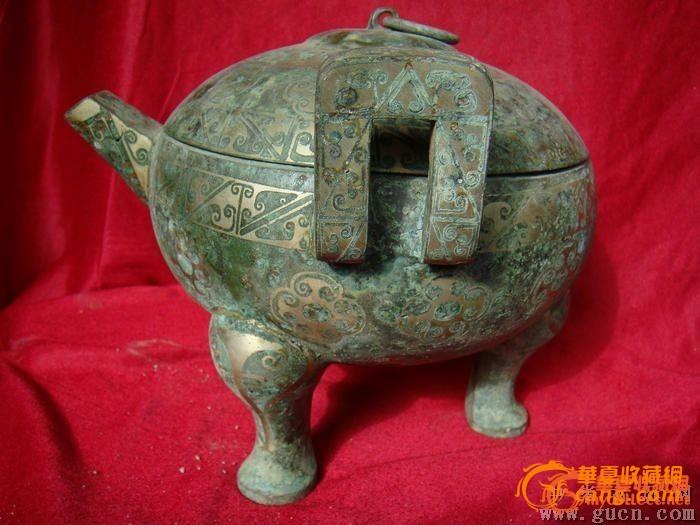 土战汉时期搓银铭文青铜器簋