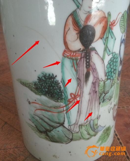 民国手绘五彩人物名士风流图罗吉太出品帽筒包老瓷器标本单只配套
