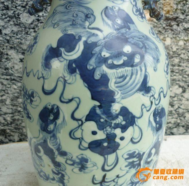 清中晚期五世同堂青花狮子大瓶;喜欢开门老货