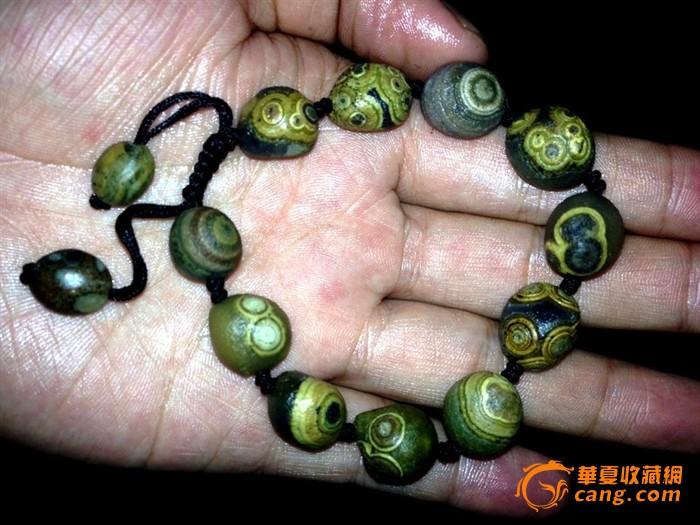 阿拉善戈壁眼睛石绿眼石手串《独一无二》金边眼睛石手串戈壁玛瑙