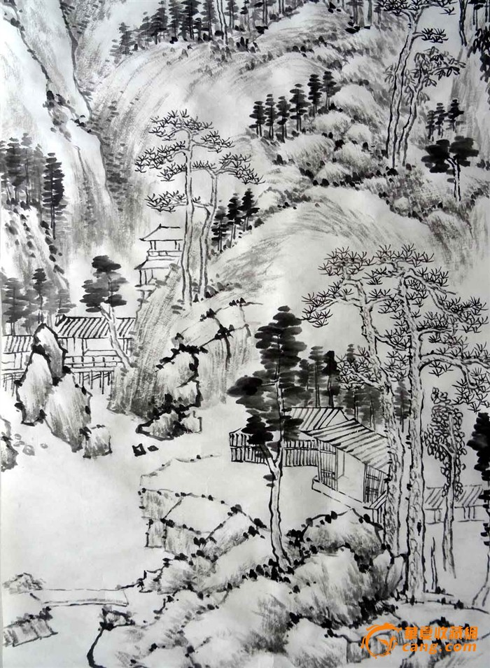 手绘传统水墨山水画2