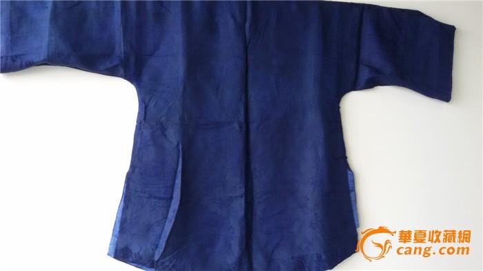 民国藏蓝色宽袖缎地大提花女式上衣(蓝1)