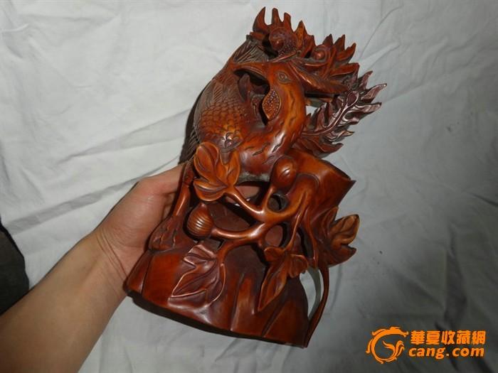 黄杨木精工雕刻凤凰摆件
