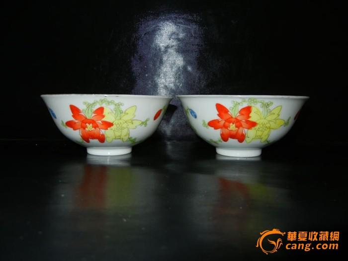 民国手绘花卉碗