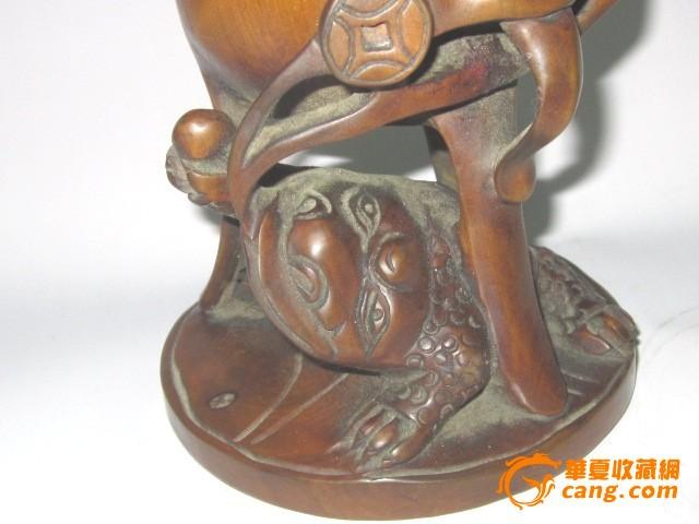 黄杨木木雕招财进宝