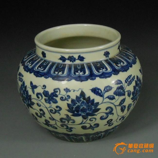 明青花花卉缠枝纹罐