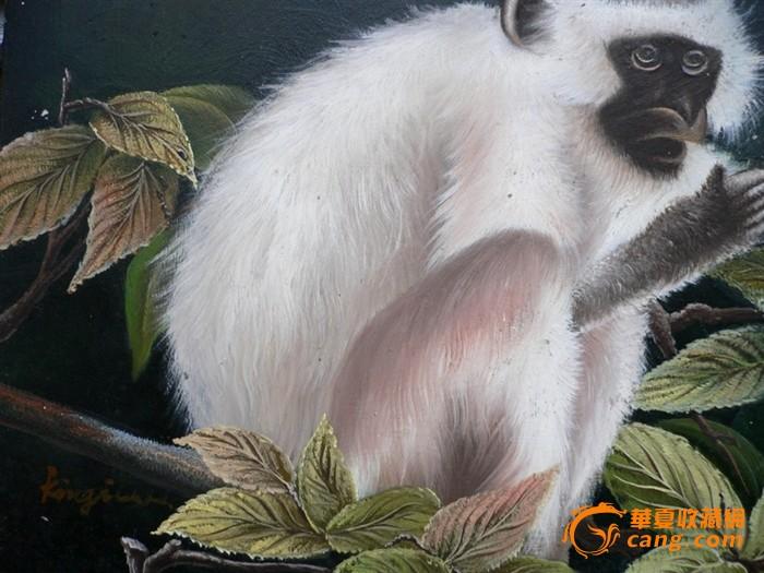木板老油画之猴子