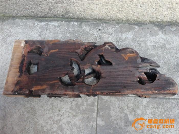 潮州木刻:清杉木雕蝙蝠叼金瓜一块