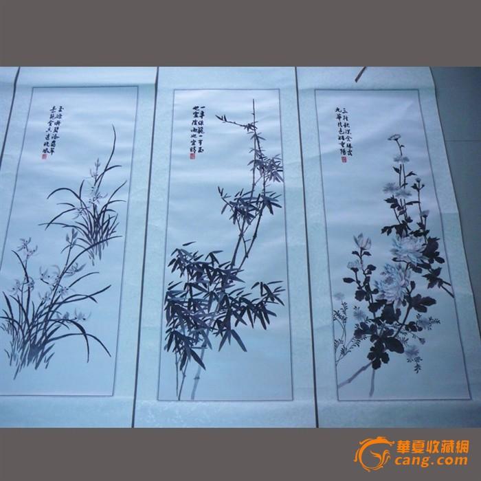 慕名湘绣 老刺绣收藏精品-墨绣梅兰竹菊四条屏卷轴