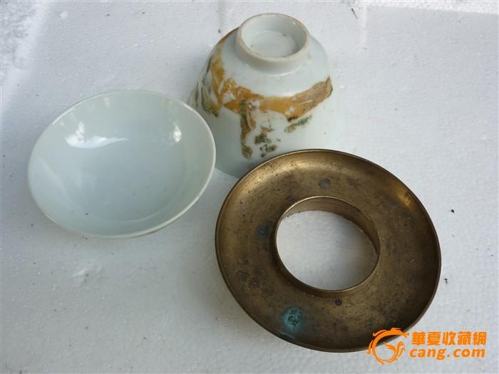 同治 粉彩渔翁垂钓人物故事茶杯 ;喜欢开门老货