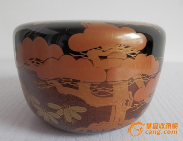 日本茶道木质漆器罐茶叶罐茶入茶则中村宗悦制漆器莳绘工艺茶枣图片