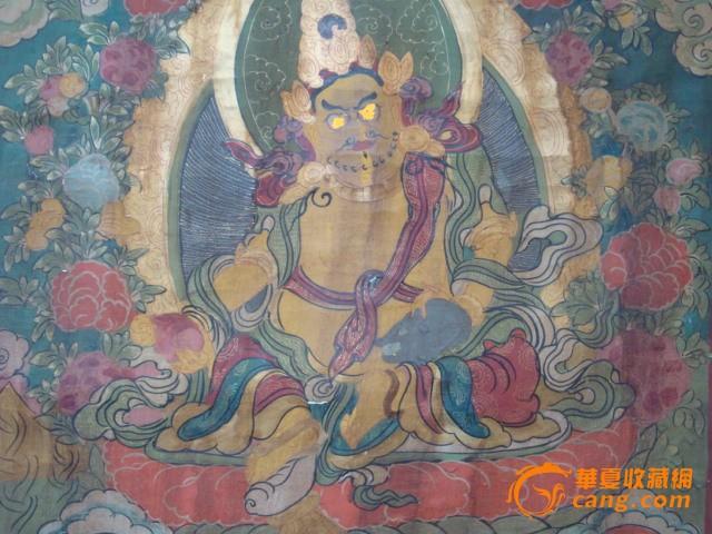 清-布制手绘唐卡-黄财神图3