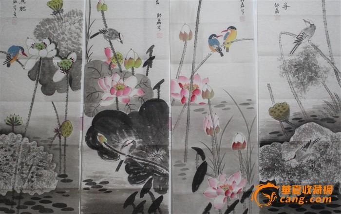 山东名家写意花鸟四条屏 保真纯手绘