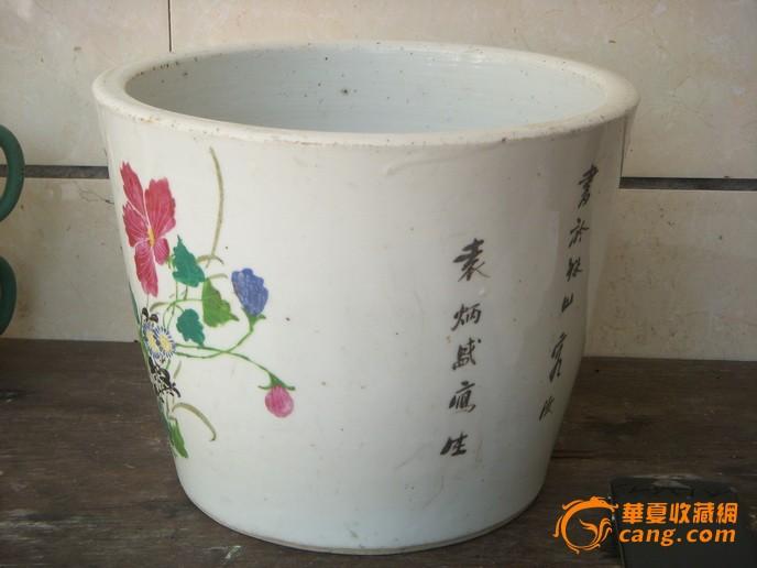 民国花卉圆桶形大花盆