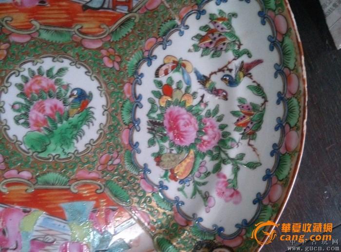 民国广彩圆盘瓷器画花鸟人物