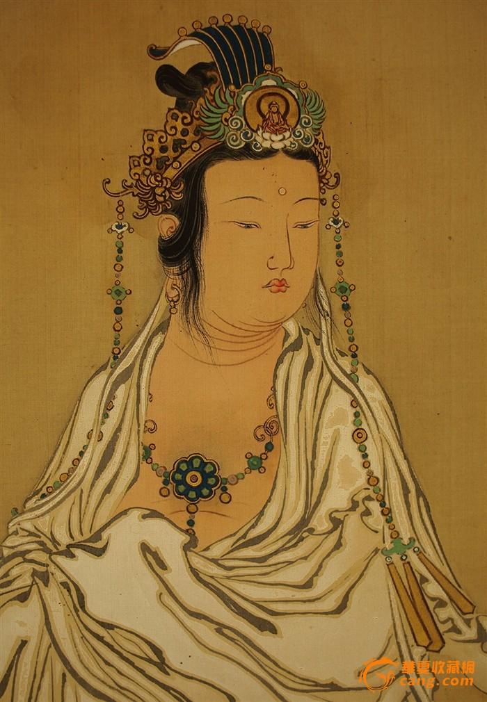 相当于清朝时期绢本工笔巨幅骑龙观音菩萨圣像