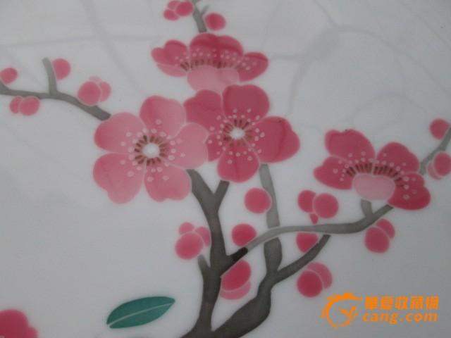 手绘釉下彩梅花盘