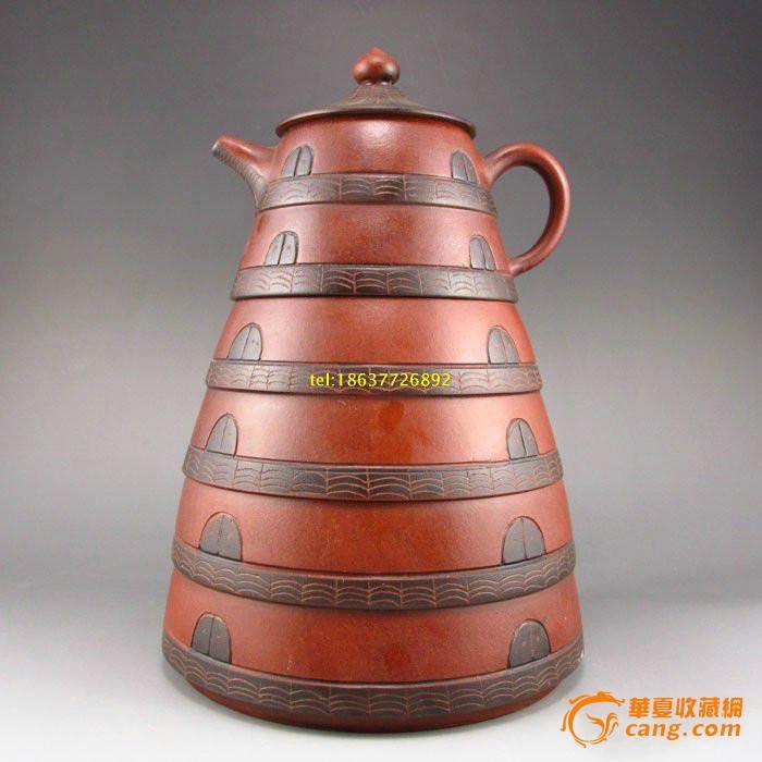 精美老紫砂手工打造 多层宝塔茶壶摆件
