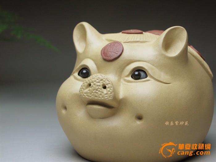 宜兴紫砂茶宠雕塑摆件小猪头贮蓄罐转眼贮钱罐 招财猪
