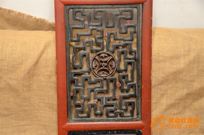 一件清代精雕精美缠枝图案老木雕花板